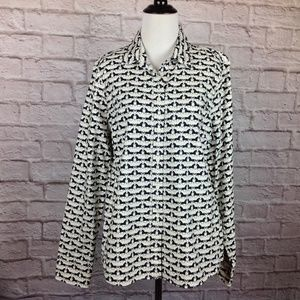 J Crew Top Large Womens Button Down Shirt Horses